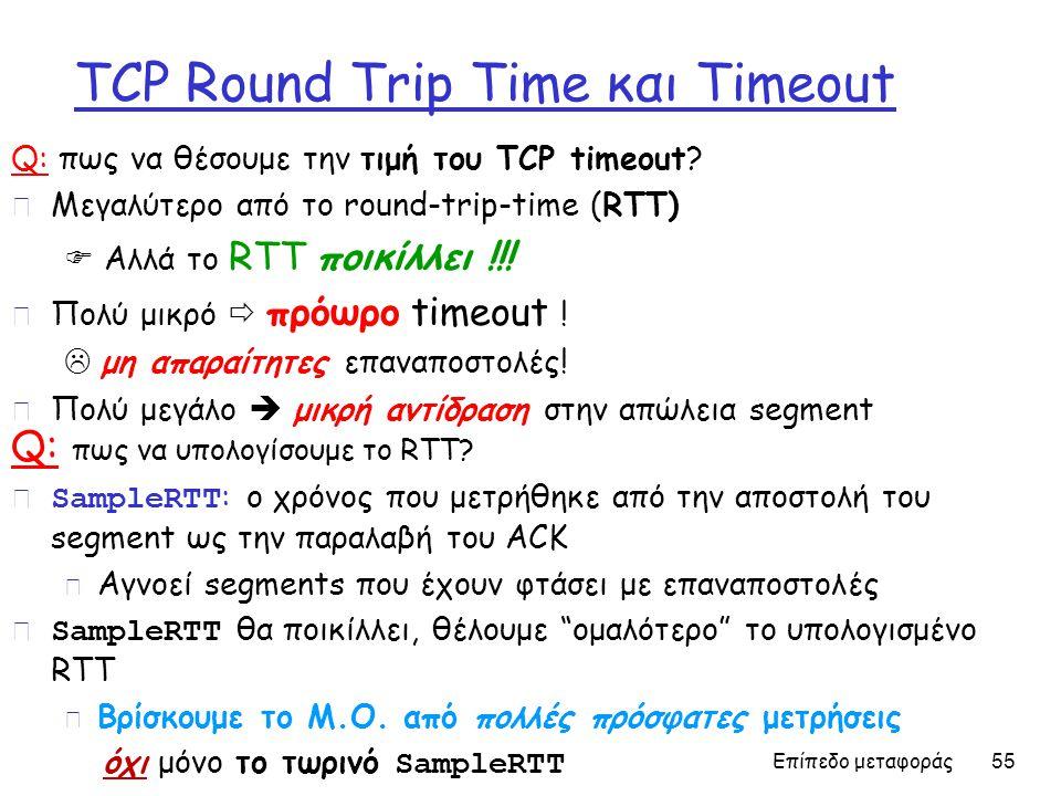 Επίπεδο μεταφοράς 55 TCP Round Trip Time και Timeout Q: πως να θέσουμε την τιμή του TCP timeout.
