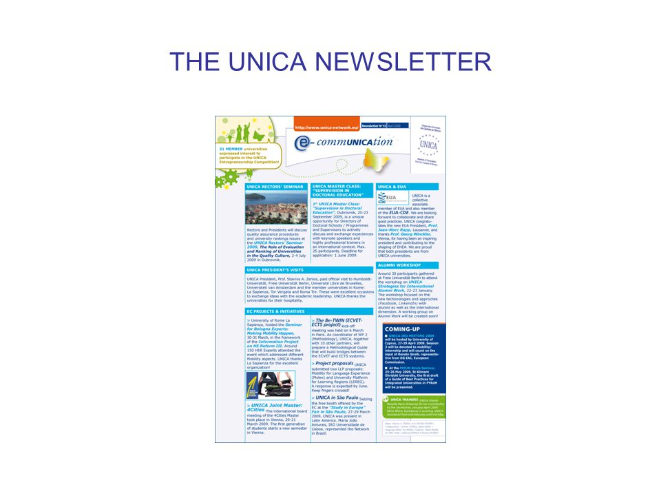 THE UNICA NEWSLETTER