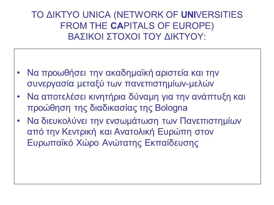 ΤΟ ΔΙΚΤΥΟ UNICA (NETWORK OF UNIVERSITIES FROM THE CAPITALS OF EUROPE) ΠΡΟΣΕΧΕΙΣ ΔΙΟΡΓΑΝΩΣΕΙΣ: •UNICA RECTORS' SEMINAR 2009: The Role of Evaluation and Ranking of Universities in the Quality Culture (Dubrovnik, 3/7/2009) •Το Δίκτυο UNICA ως μέλος του COUNCIL FOR DOCTORAL EDUCATION TΗΣ EUA διοργανώνει το: 1 st UNICA MASTER CLASS: Supervision in Doctoral Education (Dubrovnik, 20-23/9/2009).