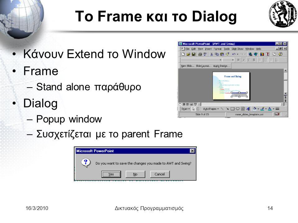 16/3/2010Δικτυακός Προγραμματισμός14 Το Frame και το Dialog •Κάνουν Extend το Window •Frame –Stand alone παράθυρο •Dialog –Popup window –Συσχετίζεται με το parent Frame