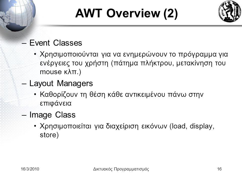 16/3/2010Δικτυακός Προγραμματισμός16 AWT Overview (2) –Event Classes •Χρησιμοποιούνται για να ενημερώνουν το πρόγραμμα για ενέργειες του χρήστη (πάτημα πλήκτρου, μετακίνηση του mouse κλπ.) –Layout Managers •Καθορίζουν τη θέση κάθε αντικειμένου πάνω στην επιφάνεια –Image Class •Χρησιμοποιείται για διαχείριση εικόνων (load, display, store)