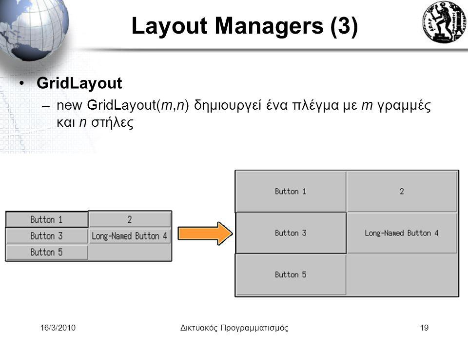 16/3/2010Δικτυακός Προγραμματισμός19 Layout Managers (3) •GridLayout –new GridLayout(m,n) δημιουργεί ένα πλέγμα με m γραμμές και n στήλες