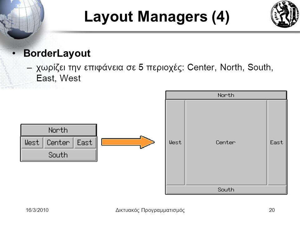 16/3/2010Δικτυακός Προγραμματισμός20 Layout Managers (4) •BorderLayout –χωρίζει την επιφάνεια σε 5 περιοχές: Center, North, South, East, West