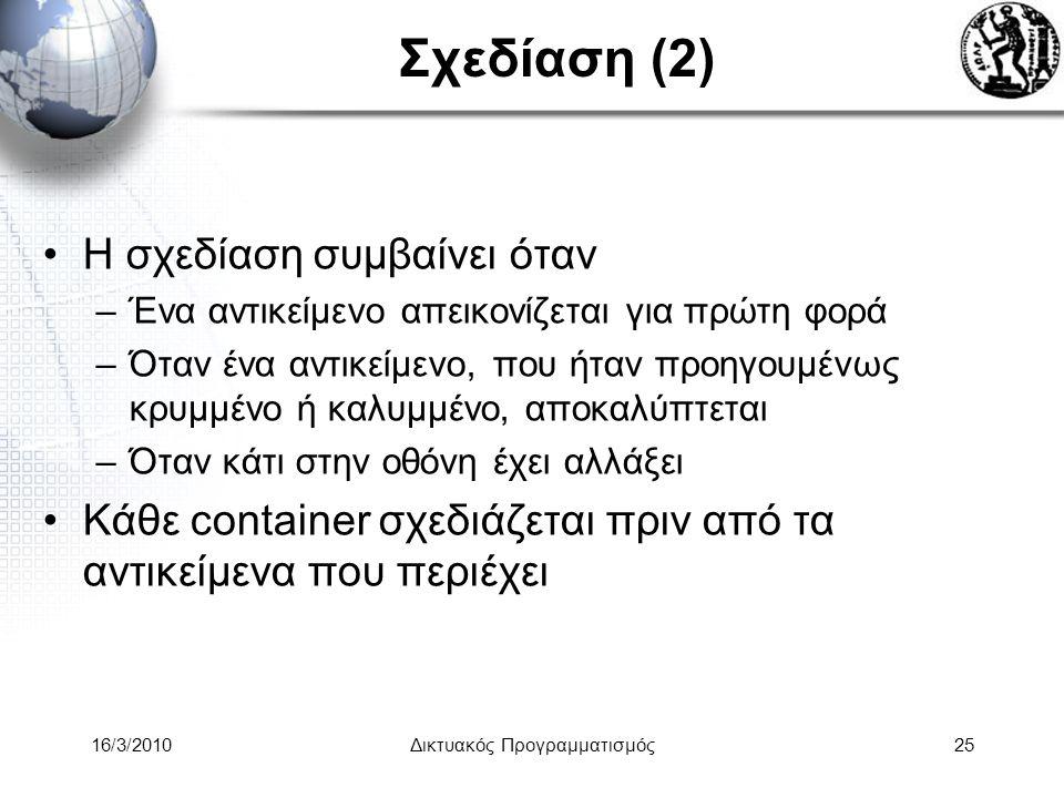 16/3/2010Δικτυακός Προγραμματισμός25 Σχεδίαση (2) •Η σχεδίαση συμβαίνει όταν –Ένα αντικείμενο απεικονίζεται για πρώτη φορά –Όταν ένα αντικείμενο, που ήταν προηγουμένως κρυμμένο ή καλυμμένο, αποκαλύπτεται –Όταν κάτι στην οθόνη έχει αλλάξει •Κάθε container σχεδιάζεται πριν από τα αντικείμενα που περιέχει
