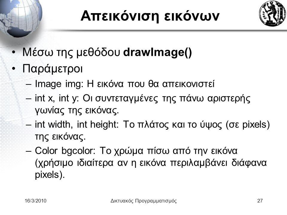 16/3/2010Δικτυακός Προγραμματισμός27 Απεικόνιση εικόνων •Μέσω της μεθόδου drawImage() •Παράμετροι –Image img: Η εικόνα που θα απεικονιστεί –int x, int y: Οι συντεταγμένες της πάνω αριστερής γωνίας της εικόνας.