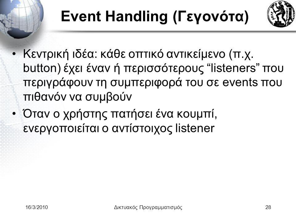 16/3/2010Δικτυακός Προγραμματισμός28 Event Handling (Γεγονότα) •Κεντρική ιδέα: κάθε οπτικό αντικείμενο (π.χ.