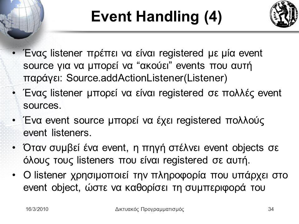 16/3/2010Δικτυακός Προγραμματισμός34 Event Handling (4) •Ένας listener πρέπει να είναι registered με μία event source για να μπορεί να ακούει events που αυτή παράγει: Source.addActionListener(Listener) •Ένας listener μπορεί να είναι registered σε πολλές event sources.
