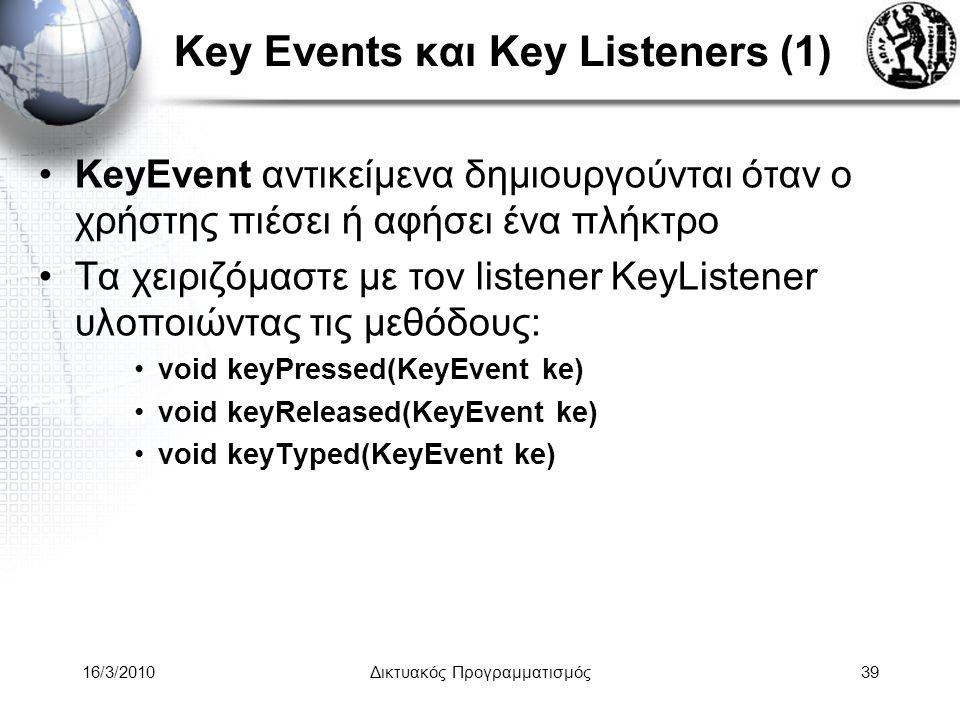 16/3/2010Δικτυακός Προγραμματισμός39 Key Events και Key Listeners (1) •KeyEvent αντικείμενα δημιουργούνται όταν ο χρήστης πιέσει ή αφήσει ένα πλήκτρο •Τα χειριζόμαστε με τον listener KeyListener υλοποιώντας τις μεθόδους: •void keyPressed(KeyEvent ke) •void keyReleased(KeyEvent ke) •void keyTyped(KeyEvent ke)