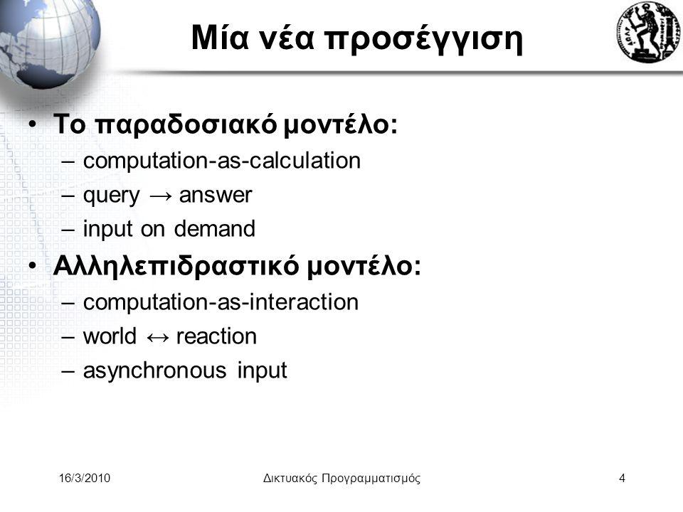 16/3/2010Δικτυακός Προγραμματισμός4 Μία νέα προσέγγιση •Το παραδοσιακό μοντέλο: –computation-as-calculation –query → answer –input on demand •Αλληλεπιδραστικό μοντέλο: –computation-as-interaction –world ↔ reaction –asynchronous input