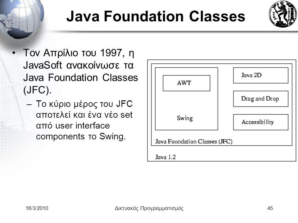 16/3/2010Δικτυακός Προγραμματισμός45 Java Foundation Classes •Τον Απρίλιο του 1997, η JavaSoft ανακοίνωσε τα Java Foundation Classes (JFC).