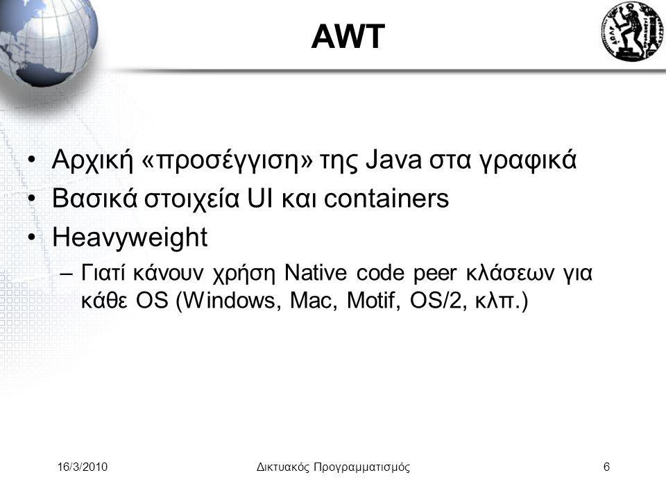 16/3/2010Δικτυακός Προγραμματισμός6 AWT •Αρχική «προσέγγιση» της Java στα γραφικά •Βασικά στοιχεία UI και containers •Heavyweight –Γιατί κάνουν χρήση Native code peer κλάσεων για κάθε OS (Windows, Mac, Motif, OS/2, κλπ.)