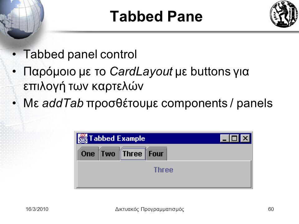 16/3/2010Δικτυακός Προγραμματισμός60 Tabbed Pane •Tabbed panel control •Παρόμοιο με το CardLayout με buttons για επιλογή των καρτελών •Με addTab προσθέτουμε components / panels