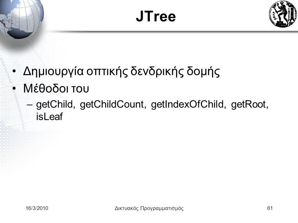 16/3/2010Δικτυακός Προγραμματισμός61 JTree •Δημιουργία οπτικής δενδρικής δομής •Μέθοδοι του –getChild, getChildCount, getIndexOfChild, getRoot, isLeaf