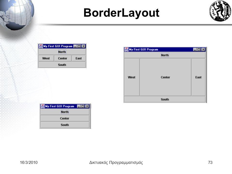 16/3/2010Δικτυακός Προγραμματισμός73 BorderLayout