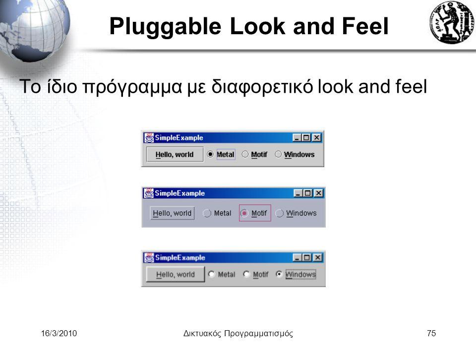 16/3/2010Δικτυακός Προγραμματισμός75 Pluggable Look and Feel Το ίδιο πρόγραμμα με διαφορετικό look and feel