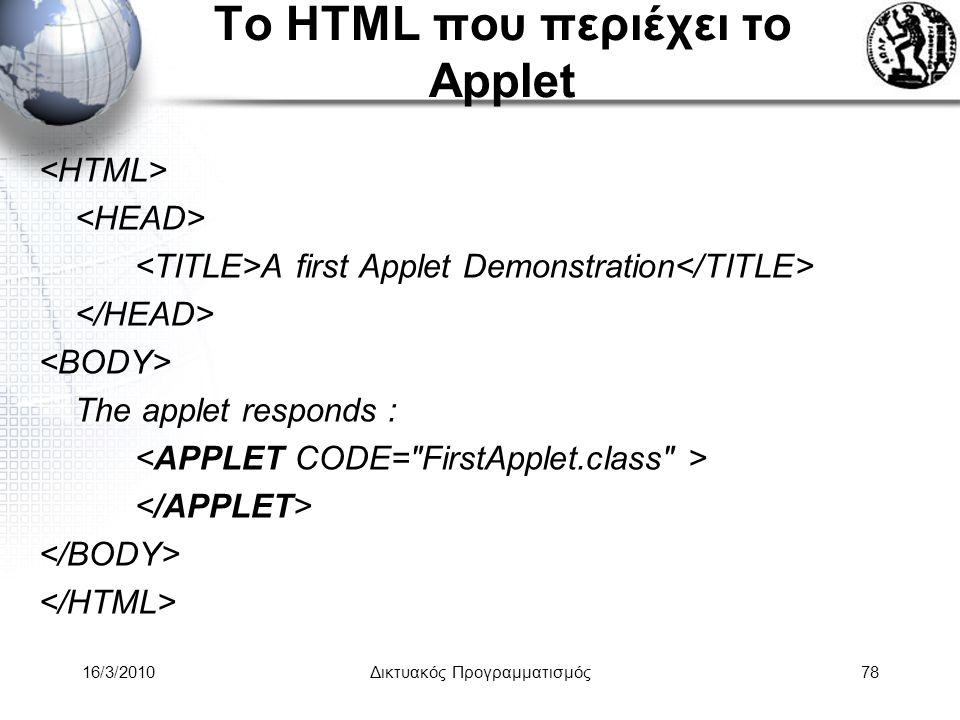 16/3/2010Δικτυακός Προγραμματισμός78 Το HTML που περιέχει το Applet A first Applet Demonstration The applet responds :