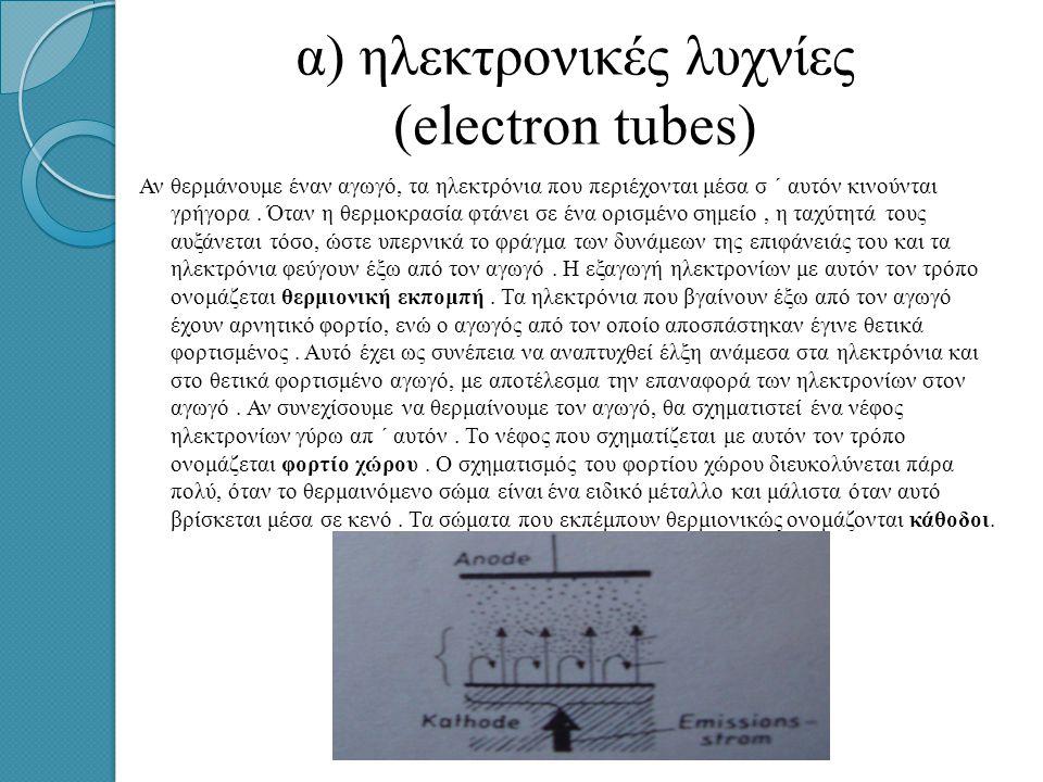 α) ηλεκτρονικές λυχνίες (electron tubes) Αν θερμάνουμε έναν αγωγό, τα ηλεκτρόνια που περιέχονται μέσα σ ΄ αυτόν κινούνται γρήγορα.