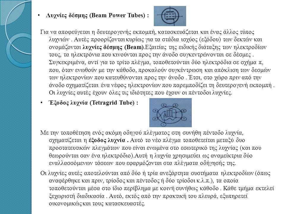 • • Λυχνίες δέσμης (Beam Power Tubes) : Για να αποφεύγεται η δευτερογενής εκπομπή, κατασκευάζεται και ένας άλλος τύπος λυχνιών.