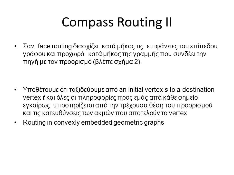 Compass Routing ΙΙ •Σαν face routing διασχίζει κατά μήκος τις επιφάνειες του επίπεδου γράφου και προχωρά κατά μήκος της γραμμής που συνδέει την πηγή με τον προορισμό (βλέπε σχήμα 2).