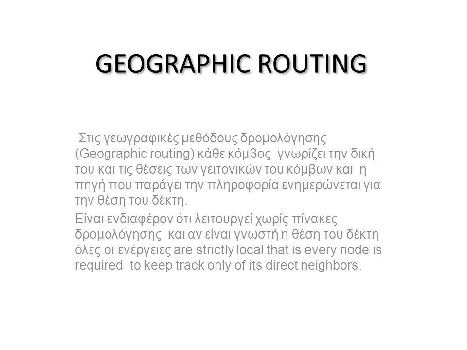 GEOGRAPHIC ROUTING Στις γεωγραφικές μεθόδους δρομολόγησης (Geographic routing) κάθε κόμβος γνωρίζει την δική του και τις θέσεις των γειτονικών του κόμβων και η πηγή που παράγει την πληροφορία ενημερώνεται για την θέση του δέκτη.