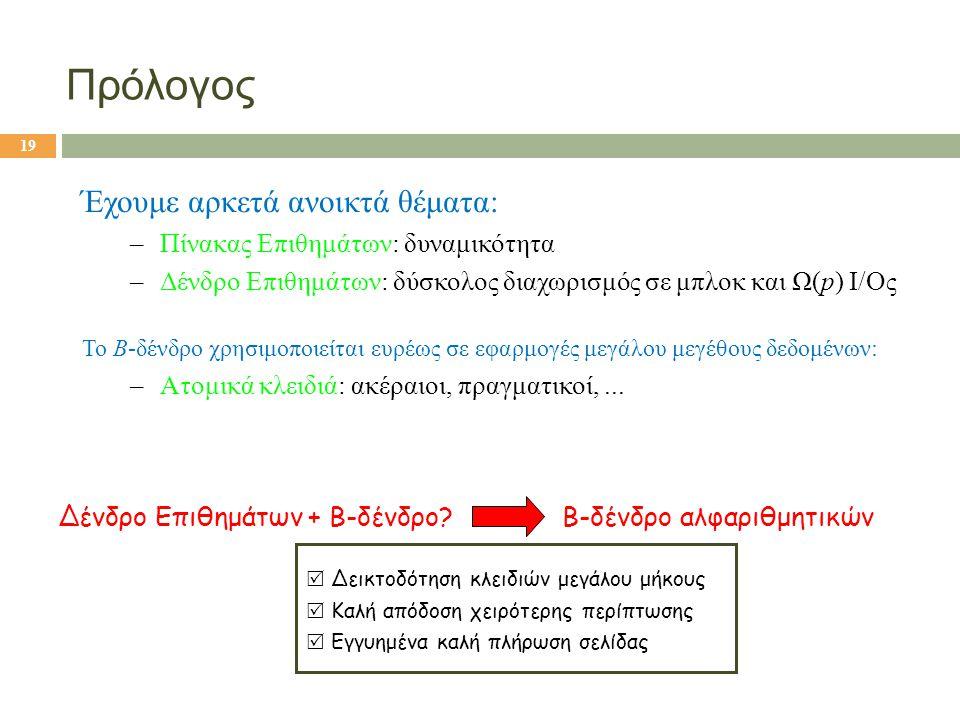 Πρόλογος Έχουμε αρκετά ανοικτά θέματα: –Πίνακας Επιθημάτων: δυναμικότητα –Δένδρο Επιθημάτων: δύσκολος διαχωρισμός σε μπλοκ και Ω(p) I/Oς Hybrid: Heuri