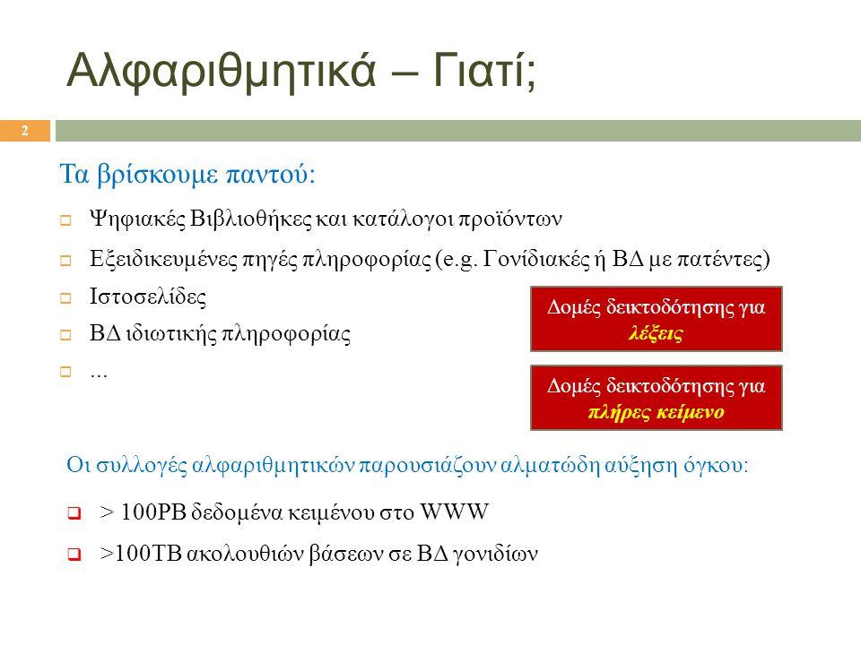 Αλφαριθμητικά – Γιατί; Τα βρίσκουμε παντού:  Ψηφιακές Βιβλιοθήκες και κατάλογοι προϊόντων  Εξειδικευμένες πηγές πληροφορίας (e.g. Γονίδιακές ή ΒΔ με