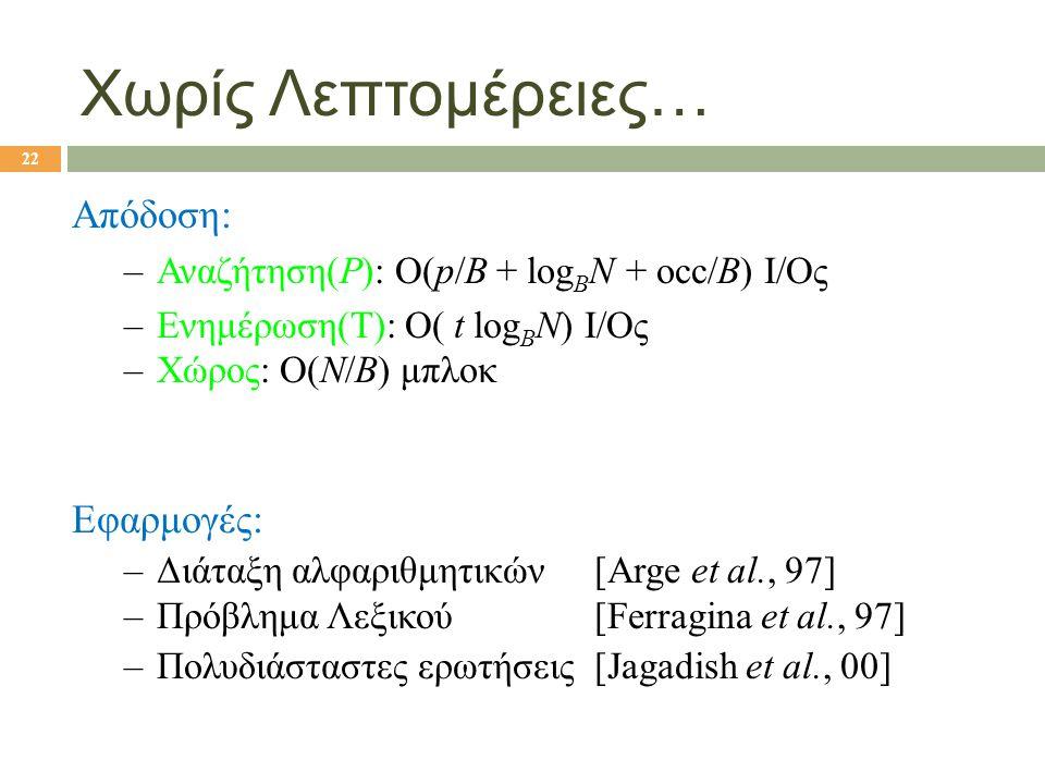 Χωρίς Λεπτομέρειες… Απόδοση: –Αναζήτηση(P): O(p/B + log B N + occ/B) I/Oς –Ενημέρωση(T): O( t log B N) I/Oς –Χώρος: Ο(N/B) μπλοκ Εφαρμογές: –Διάταξη α