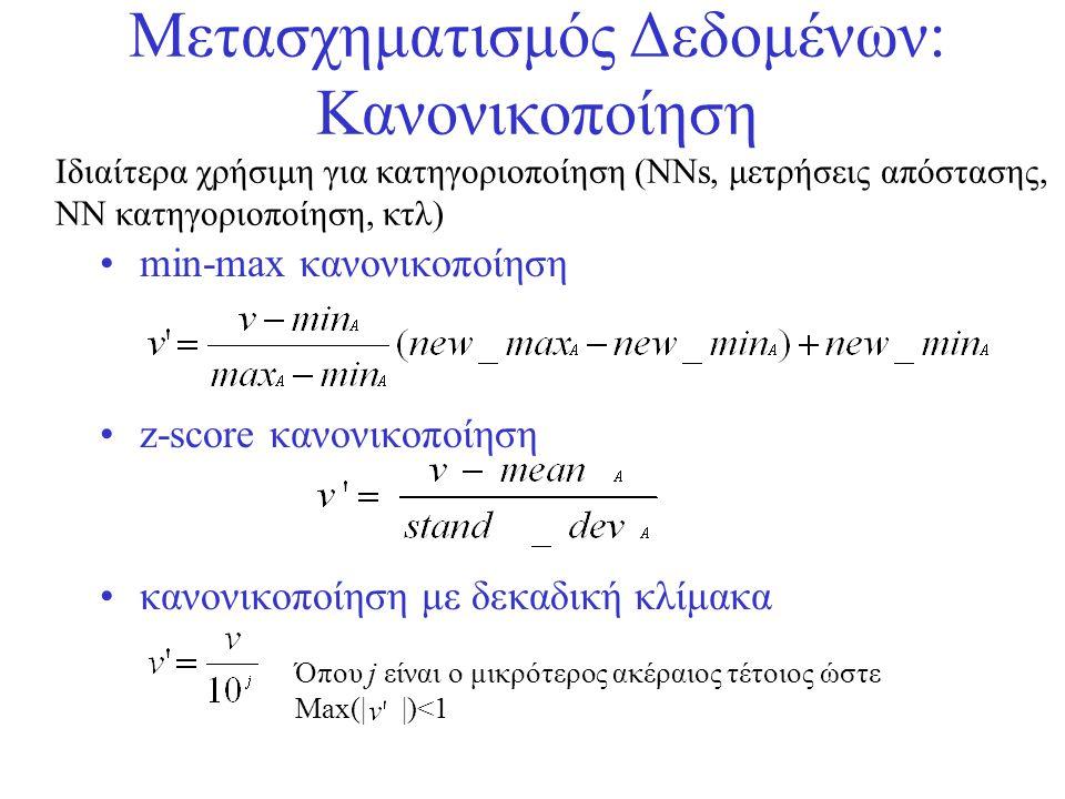 Μετασχηματισμός Δεδομένων: Κανονικοποίηση •min-max κανονικοποίηση •z-score κανονικοποίηση •κανονικοποίηση με δεκαδική κλίμακα Όπου j είναι ο μικρότερο