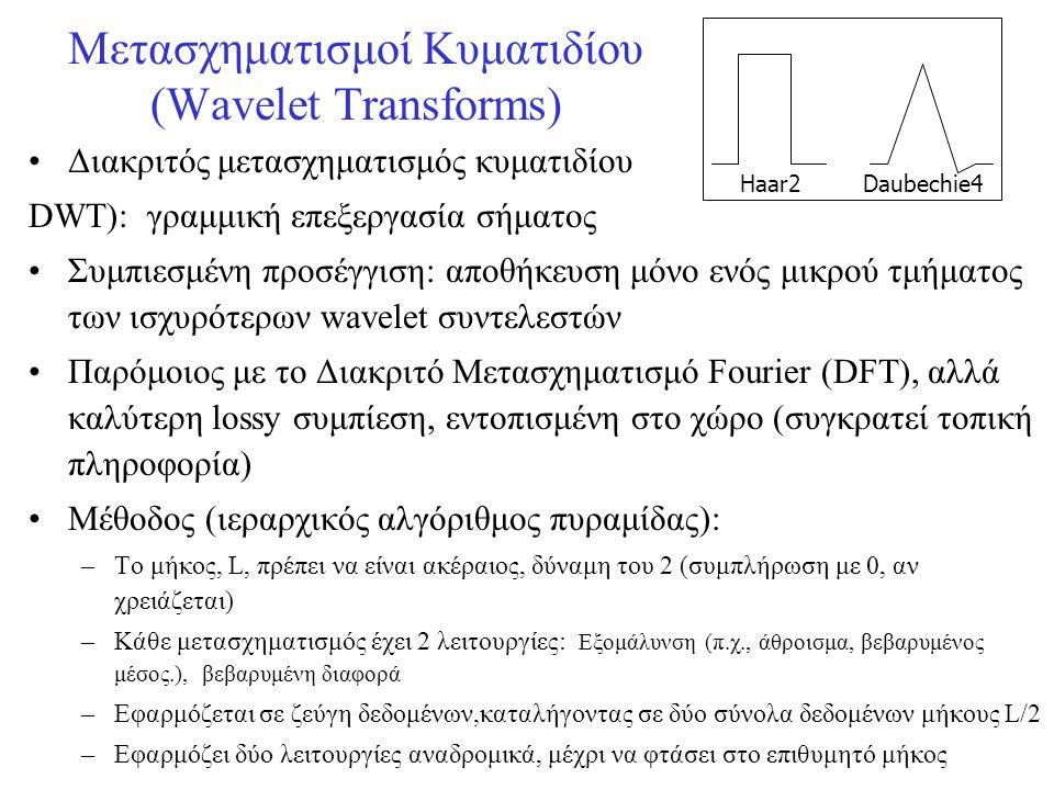 Μετασχηματισμοί Κυματιδίου (Wavelet Transforms) •Διακριτός μετασχηματισμός κυματιδίου DWT): γραμμική επεξεργασία σήματος •Συμπιεσμένη προσέγγιση: αποθ