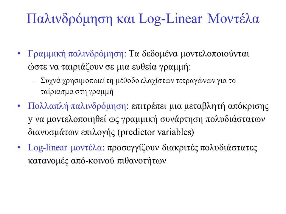 Παλινδρόμηση και Log-Linear Μοντέλα •Γραμμική παλινδρόμηση: Τα δεδομένα μοντελοποιούνται ώστε να ταιριάζουν σε μια ευθεία γραμμή: –Συχνά χρησιμοποιεί