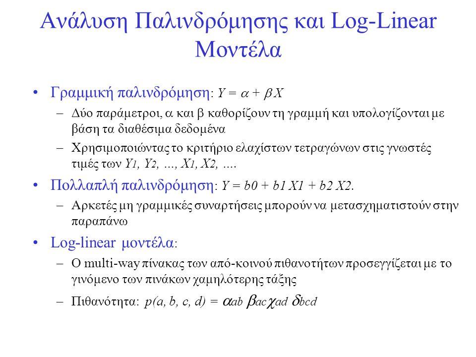 •Γραμμική παλινδρόμηση : Y =  +  X –Δύο παράμετροι,  και  καθορίζουν τη γραμμή και υπολογίζονται με βάση τα διαθέσιμα δεδομένα –Χρησιμοποιώντας το