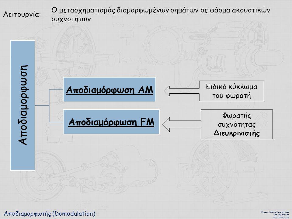 Αποδιαμορφωτής (Demodulation) Όνομα : Λεκάκης Κωνσταντίνος Καθ. Τεχνολογίας 29/3/2009 11:59 Λειτουργία: Ο μετασχηματισμός διαμορφωμένων σημάτων σε φάσ