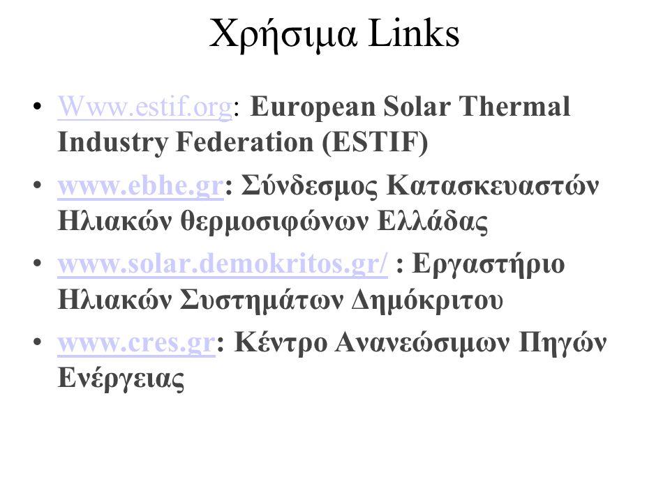 Χρήσιμα Links •Www.estif.org: European Solar Thermal Industry Federation (ESTIF)Www.estif.org •www.ebhe.gr: Σύνδεσμος Κατασκευαστών Ηλιακών θερμοσιφώνων Ελλάδαςwww.ebhe.gr •www.solar.demokritos.gr/ : Εργαστήριο Ηλιακών Συστημάτων Δημόκριτουwww.solar.demokritos.gr/ •www.cres.gr: Κέντρο Ανανεώσιμων Πηγών Ενέργειαςwww.cres.gr