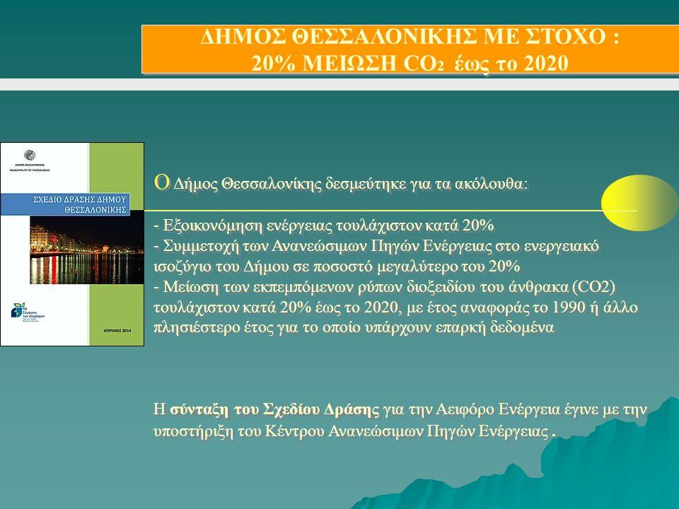 ΔΗΜΟΣ ΘΕΣΣΑΛΟΝΙΚΗΣ ΜΕ ΣΤΟΧΟ : 20% ΜΕΙΩΣΗ CO 2 έως το 2020 ΔΗΜΟΣ ΘΕΣΣΑΛΟΝΙΚΗΣ ΜΕ ΣΤΟΧΟ : 20% ΜΕΙΩΣΗ CO 2 έως το 2020 Ο Δήμος Θεσσαλονίκης δεσμεύτηκε γι