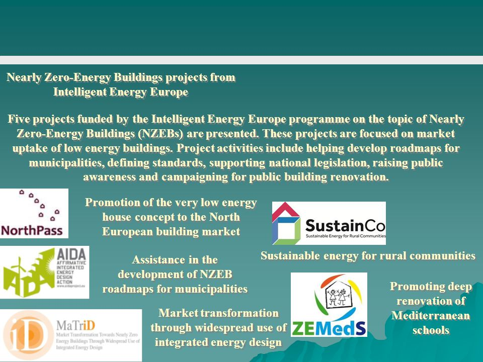 Nearly Zero-Energy Buildings projects from Intelligent Energy Europe Five projects funded by the Intelligent Energy Europe programme on the topic of N