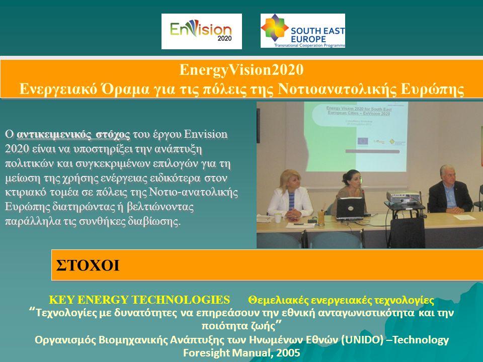 EnergyVision2020 Ενεργειακό Όραμα για τις πόλεις της Νοτιοανατολικής Ευρώπης ΣΤΟΧΟΙ Ο αντικειμενικός στόχος του έργου Envision 2020 είναι να υποστηρίξ