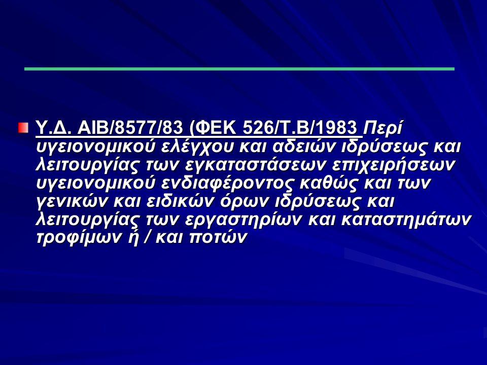 ΑΝ.2520/40 40 (ΦΕΚ 273/τ.α./5 - 9 - 40) Περί υγειονομικών διατάξεων ΥΓ.