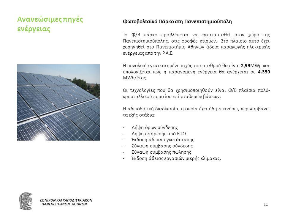 Ανανεώσιμες πηγές ενέργειας 11 Ε ΕΘΝΙΚΟΝ ΚΑΙ ΚΑΠΟΔΙΣΤΡΙΑΚΟΝ ΠΑΝΕΠΙΣΤΗΜΙΟΝ ΑΘΗΝΩΝ Φωτοβολταϊκό Πάρκο στη Πανεπιστημιούπολη Το Φ/Β πάρκο προβλέπεται να