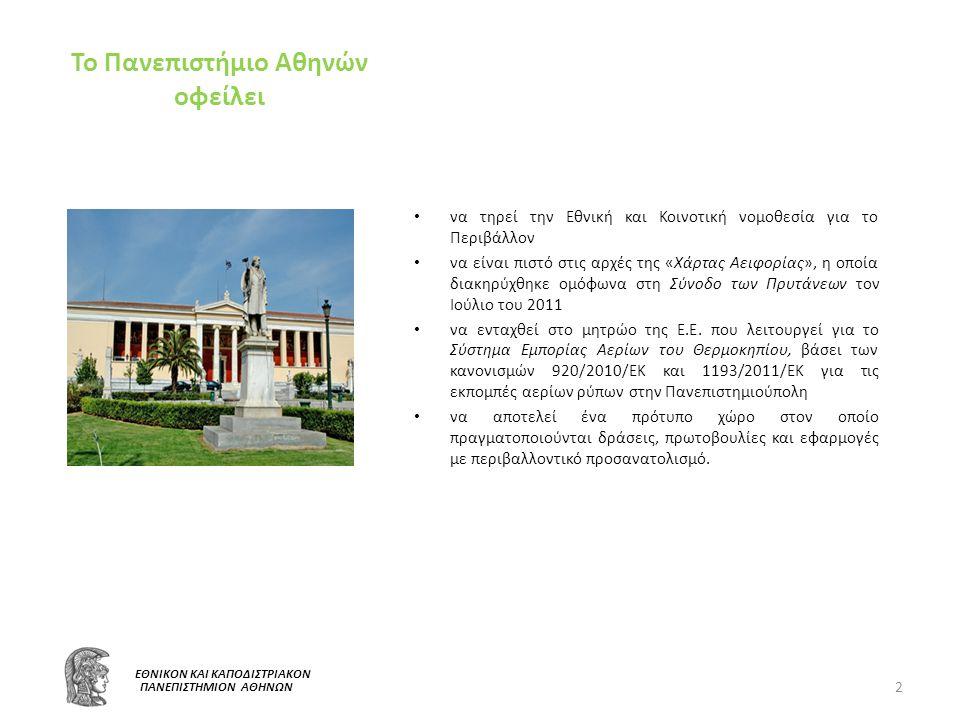 «Περιβάλλον και Αειφόρος Ανάπτυξη» στο Πανεπιστήμιο Αθηνών και στη Διεύθυνση Τεχνικών Υπηρεσιών Το Πανεπιστήμιο Αθηνών πολλαπλασιάζοντας τις παρεμβάσεις του σχετικά με το περιβάλλον και την αειφόρο ανάπτυξη, προέβη στη σύσταση Επιτροπής Περιβάλλοντος και Αειφόρου Ανάπτυξης (Ε.Π.Α.Α.), με σκοπό να συντονίζει όλες τις δράσεις που αφορούν στην βελτίωση του περιβάλλοντος.