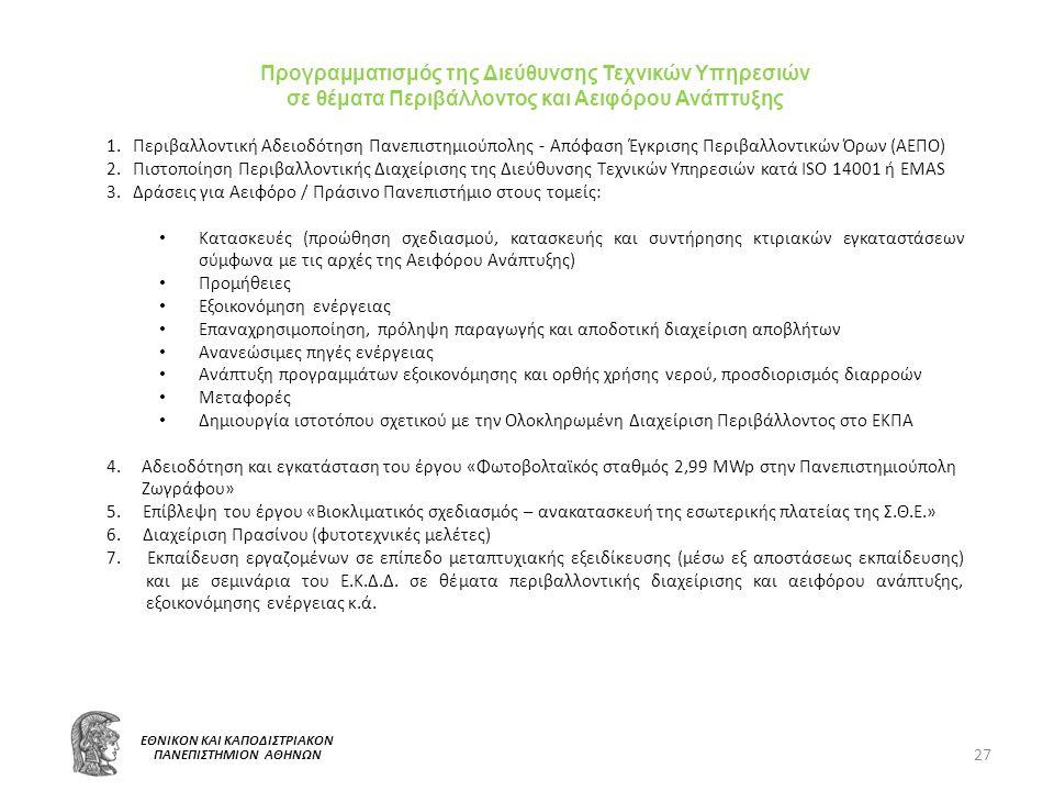 27 ΕΘΝΙΚΟΝ ΚΑΙ ΚΑΠΟΔΙΣΤΡΙΑΚΟΝ ΠΑΝΕΠΙΣΤΗΜΙΟΝ ΑΘΗΝΩΝ Προγραμματισμός της Διεύθυνσης Τεχνικών Υπηρεσιών σε θέματα Περιβάλλοντος και Αειφόρου Ανάπτυξης 1.