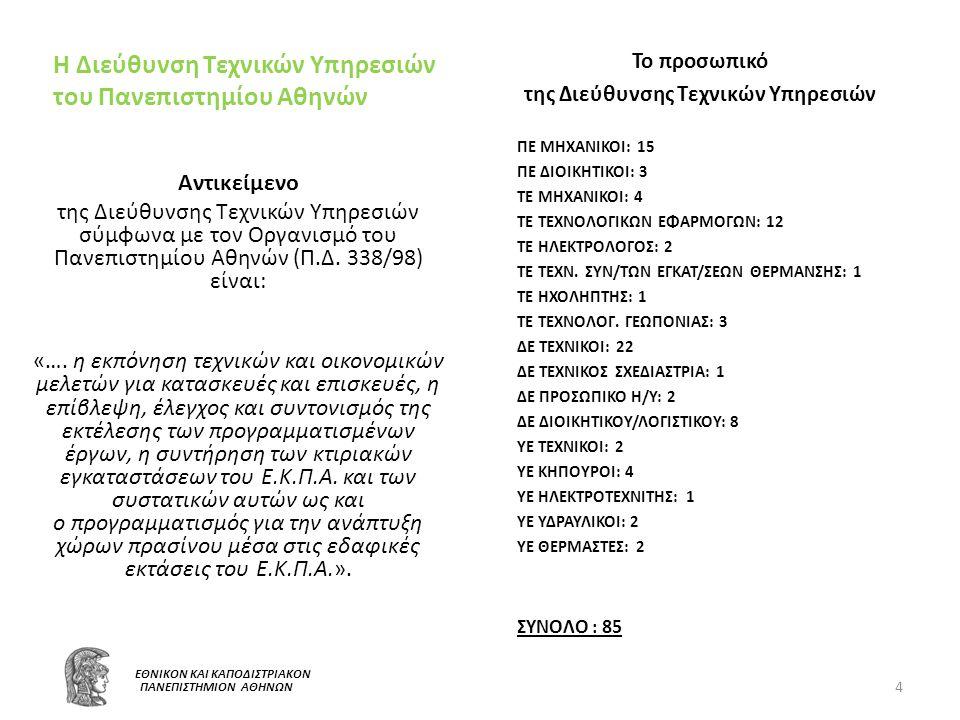 5 Ε ΕΘΝΙΚΟΝ ΚΑΙ ΚΑΠΟΔΙΣΤΡΙΑΚΟΝ ΠΑΝΕΠΙΣΤΗΜΙΟΝ ΑΘΗΝΩΝ Οι αποφάσεις και οι προτεραιότητες για τα έργα που εκπονούνται από την Διεύθυνση Τεχνικών Υπηρεσιών λαμβάνονται από τη Διοίκηση του Πανεπιστημίου Αθηνών, έπειτα από εισηγήσεις της Υπηρεσίας.