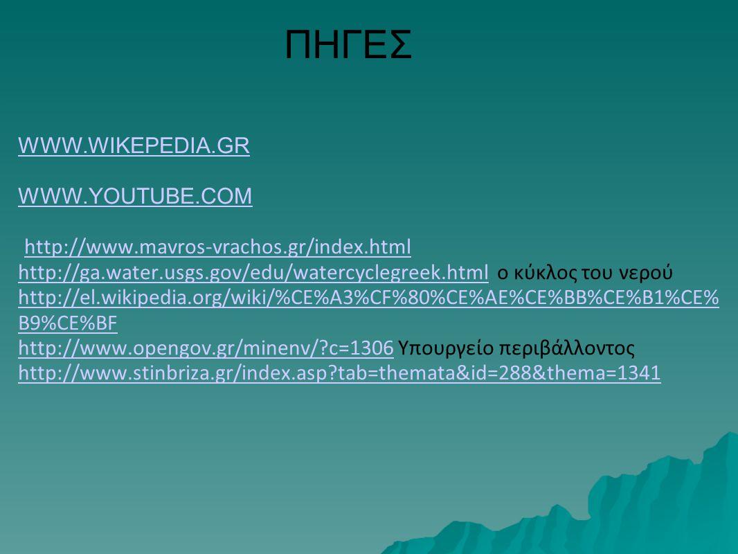 ΠΗΓΕΣ WWW.WIKEPEDIA.GR WWW.YOUTUBE.COM http://www.mavros-vrachos.gr/index.html http://ga.water.usgs.gov/edu/watercyclegreek.html ο κύκλος του νερού ht