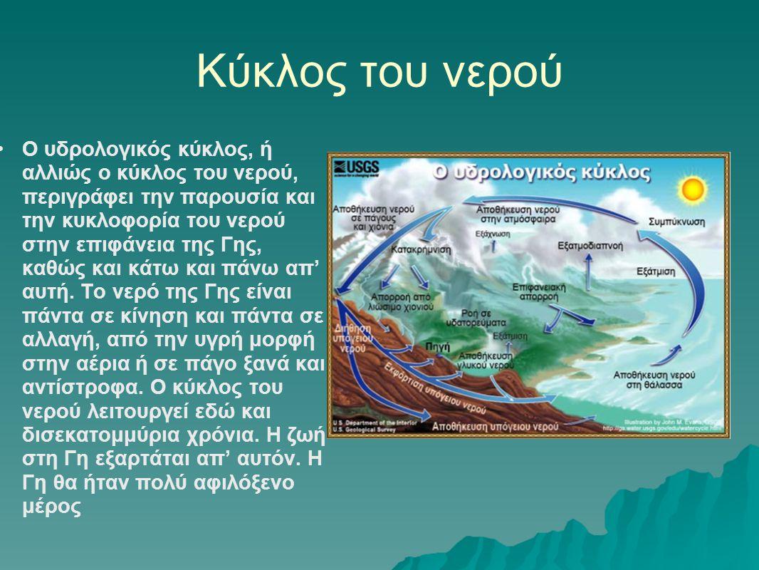 Κύκλος του νερού •Ο υδρολογικός κύκλος, ή αλλιώς ο κύκλος του νερού, περιγράφει την παρουσία και την κυκλοφορία του νερού στην επιφάνεια της Γης, καθώ