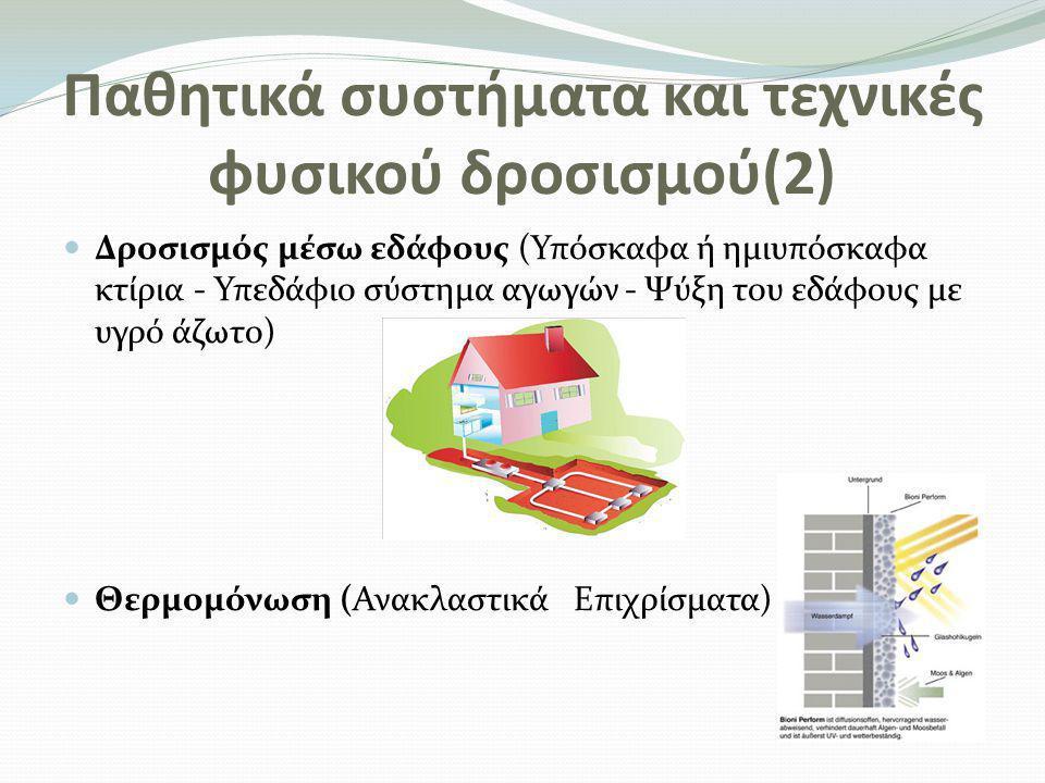Παθητικά συστήματα και τεχνικές φυσικού δροσισμού(3)  Φυσικός αερισμός του εσωτερικού χώρου του κτηρίου (Ηλιακή καμινάδα-Καμινάδα αερισμού- Διπλή επιδερμίδα - Αεριζόμενο κέλυφος)  Νυχτερινή ακτινοβολία θερμότητας (Μεταλλικός ακτινοβολητής)