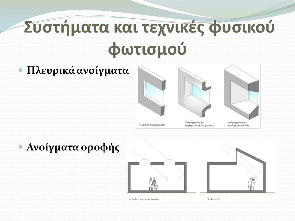 Συστήματα και τεχνικές φυσικού φωτισμού(2)  Διαφανείς τοίχοι και οροφές  Διαφανή υλικά ανοιγμάτων(Ανακλαστικοί υαλοπίνακες-Έγχρωμοι υαλοπίνακες-Απορροφητικοί υαλοπίνακες…)