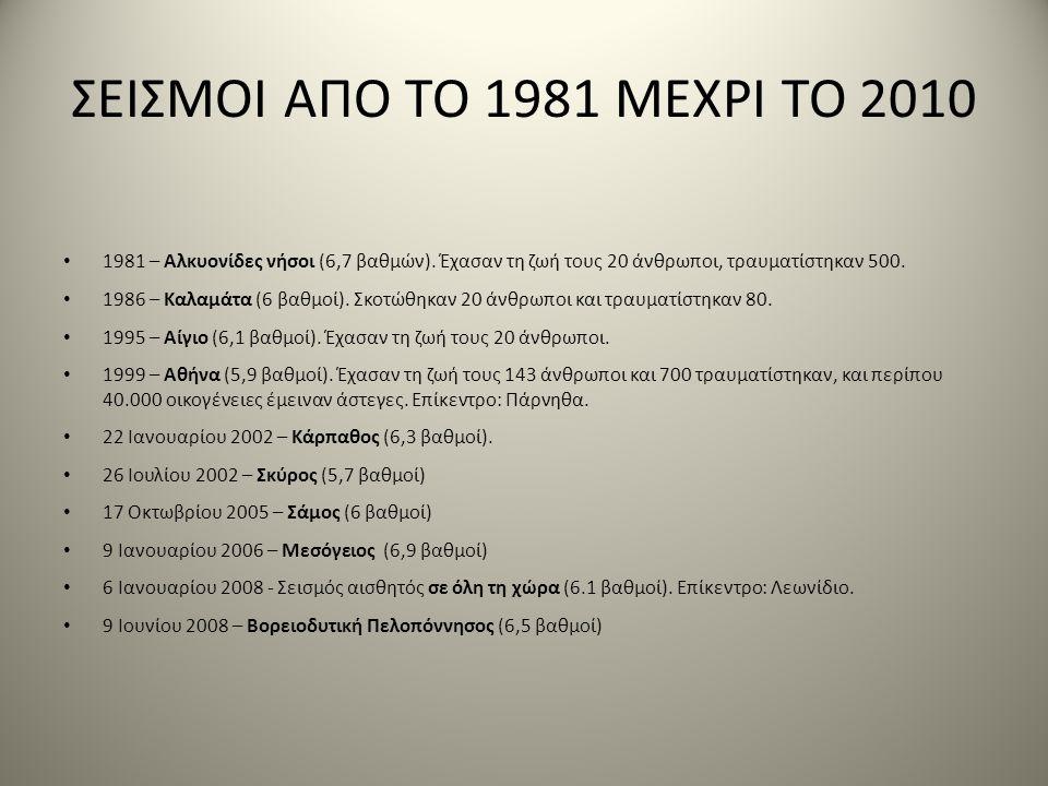 ΣΕΙΣΜΟΙ ΑΠΟ ΤΟ 1981 ΜΕΧΡΙ ΤΟ 2010 • 1981 – Αλκυονίδες νήσοι (6,7 βαθμών). Έχασαν τη ζωή τους 20 άνθρωποι, τραυματίστηκαν 500. • 1986 – Καλαμάτα (6 βαθ