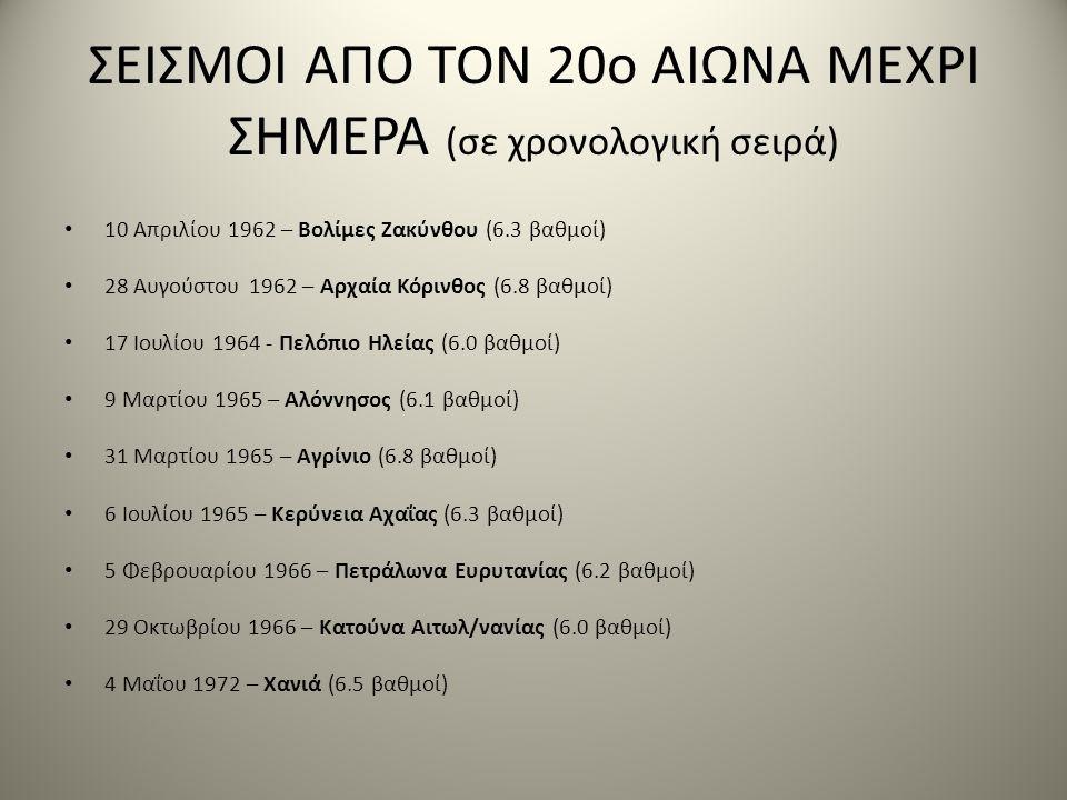 ΣΕΙΣΜΟΙ ΑΠΟ ΤΟΝ 20ο ΑΙΩΝΑ ΜΕΧΡΙ ΣΗΜΕΡΑ (σε χρονολογική σειρά) • 10 Απριλίου 1962 – Βολίμες Ζακύνθου (6.3 βαθμοί) • 28 Αυγούστου 1962 – Αρχαία Κόρινθος (6.8 βαθμοί) • 17 Ιουλίου 1964 - Πελόπιο Ηλείας (6.0 βαθμοί) • 9 Μαρτίου 1965 – Αλόννησος (6.1 βαθμοί) • 31 Μαρτίου 1965 – Αγρίνιο (6.8 βαθμοί) • 6 Ιουλίου 1965 – Κερύνεια Αχαΐας (6.3 βαθμοί) • 5 Φεβρουαρίου 1966 – Πετράλωνα Ευρυτανίας (6.2 βαθμοί) • 29 Οκτωβρίου 1966 – Κατούνα Αιτωλ/νανίας (6.0 βαθμοί) • 4 Μαΐου 1972 – Χανιά (6.5 βαθμοί)