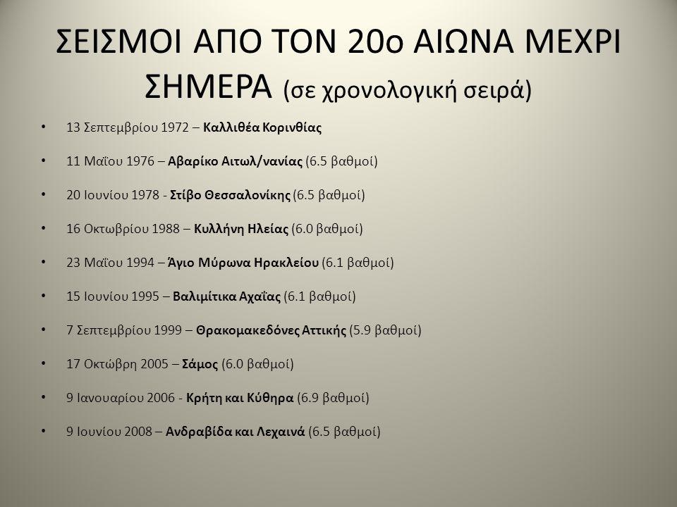 ΣΕΙΣΜΟΙ ΑΠΟ ΤΟΝ 20ο ΑΙΩΝΑ ΜΕΧΡΙ ΣΗΜΕΡΑ (σε χρονολογική σειρά) • 13 Σεπτεμβρίου 1972 – Καλλιθέα Κορινθίας • 11 Μαΐου 1976 – Αβαρίκο Αιτωλ/νανίας (6.5 βαθμοί) • 20 Ιουνίου 1978 - Στίβο Θεσσαλονίκης (6.5 βαθμοί) • 16 Οκτωβρίου 1988 – Κυλλήνη Ηλείας (6.0 βαθμοί) • 23 Μαΐου 1994 – Άγιο Μύρωνα Ηρακλείου (6.1 βαθμοί) • 15 Ιουνίου 1995 – Βαλιμίτικα Αχαΐας (6.1 βαθμοί) • 7 Σεπτεμβρίου 1999 – Θρακομακεδόνες Αττικής (5.9 βαθμοί) • 17 Οκτώβρη 2005 – Σάμος (6.0 βαθμοί) • 9 Ιανουαρίου 2006 - Κρήτη και Κύθηρα (6.9 βαθμοί) • 9 Ιουνίου 2008 – Ανδραβίδα και Λεχαινά (6.5 βαθμοί)