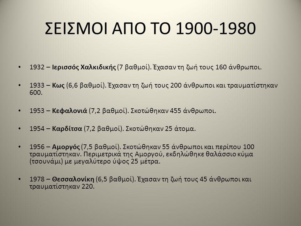 ΣΕΙΣΜΟΙ ΑΠΟ ΤΟ 1900-1980 • 1932 – Ιερισσός Χαλκιδικής (7 βαθμοί). Έχασαν τη ζωή τους 160 άνθρωποι. • 1933 – Κως (6,6 βαθμοί). Έχασαν τη ζωή τους 200 ά