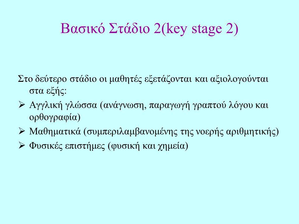 Βασικό Στάδιο 2(key stage 2) Στο δεύτερο στάδιο οι μαθητές εξετάζονται και αξιολογούνται στα εξής:  Αγγλική γλώσσα (ανάγνωση, παραγωγή γραπτού λόγου και ορθογραφία)  Μαθηματικά (συμπεριλαμβανομένης της νοερής αριθμητικής)  Φυσικές επιστήμες (φυσική και χημεία)